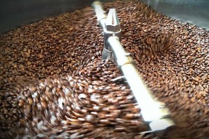 mixing our coffee beans